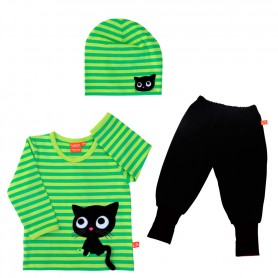 Childrens gift-set with kitten (green)