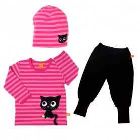 Cerise/pink gift-set with cat