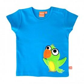 Blå t-shirt med grön papegoja
