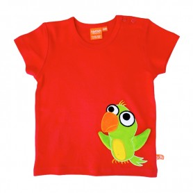 Röd t-shirt med rolig papegoja i grönt.