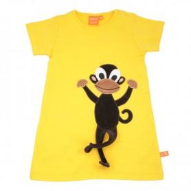 Köp en gul sommarklänning för barn med rolig  apa. Apans ben sticker ut.