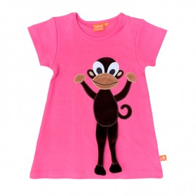 Hot pink dress with monkey