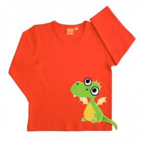 Grön drake på långärmad tröja för barn.