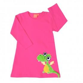 Cerise långärmad barnklänning med drakmotiv.