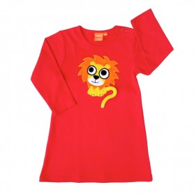 Röd klänning för barn med lejonmotiv.