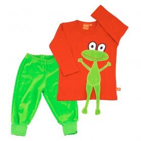 Matchande kläd-set för barn med en glad groda på den röda tröjan. Gröna velourbyxor som matchar färgen på applikationen.