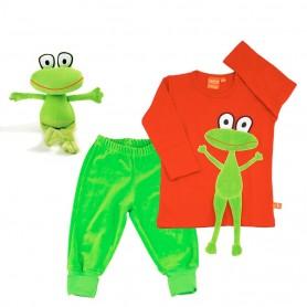 Presentpaket med groda på röd långärmad barntröja, gröna velourbyxor och ett kramdjur med groda.