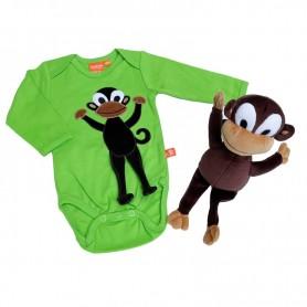 Paket till babyn med en grön body med apa samt ett kramdjur (apa)