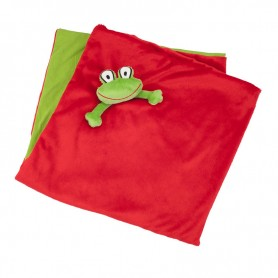 Red comfort blanket with frog