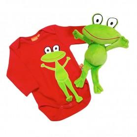 Set med röd långärmad body med grod-applikation för baby samt ett kramdjur i form av en groda.