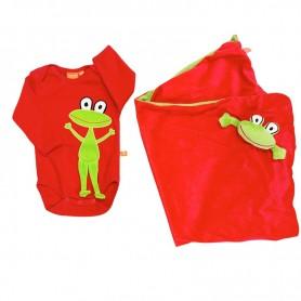 Röd babybody med grodmotiv samt en röd filt med groda.