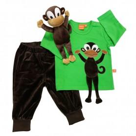 Present-set för barn. Grön långärmad tröja med apmotiv, bruna velourbyxor samt en apa som kramdjur.