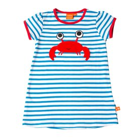 blue/white dress with a crab
