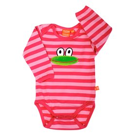 striped pink body with frog
