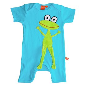 Turquoise playsuit with frog