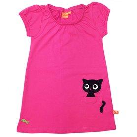 Söt cerise singoallaklänning för barn,  med en gullig katt i fickan.