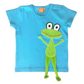 Turquoise T-shirt with frog