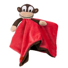 Red comfort blanket with monkey