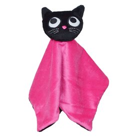Cerise comfort blanket with kitten