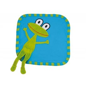 Turquoise organic mini blanket with frog