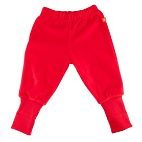 Red velour trousers