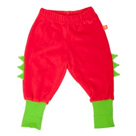 Red dino-trousers with spikes velour