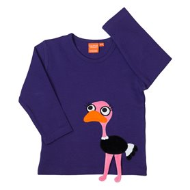 Purple shirt with ostrich