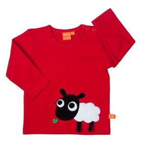 Röd tröja med får (62/68)