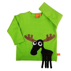 Green shirt with moose