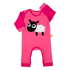 cerise/pink baby pyjama with sheep