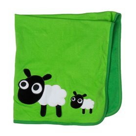 Green organic blanket with sheeps