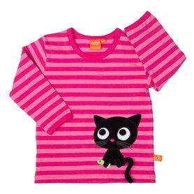 Randig rosa och cerise barntröja för med söt svart katt. Kattens svans sticker ut och går att dra i.