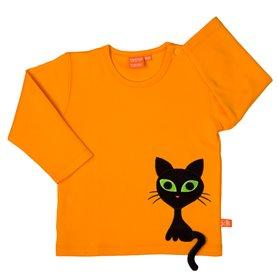 Orange tröja med cool katt (74/80 & 104)