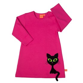 Cerise dress with cool cat