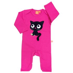 Cerise jumpsuit with kitten