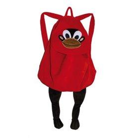 Röd ryggsäck med apa