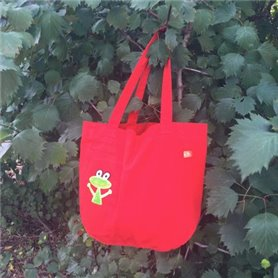 Red canvas bag with frog