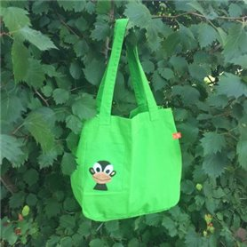 Green canvas bag with monkey