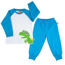 blue/white pyjama with dinosaur