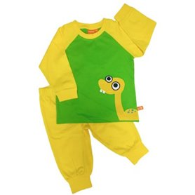 yellow/green pyjama with dinosaur