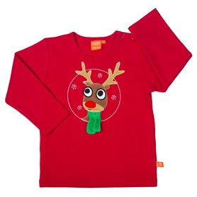 Red shirt with reindeer