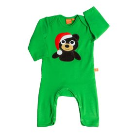 Green jumpsuit with christmas bear