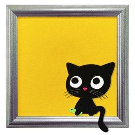 Tavla med katten Conny på gul bakgrund