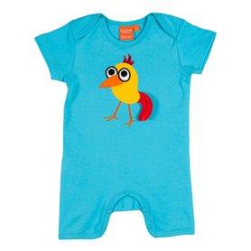 Scuba blue jumpsuit with bird