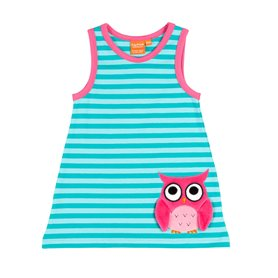 aqua striped dress with a owl