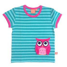 aqua-randig T-shirt med uggla (116 & 122)