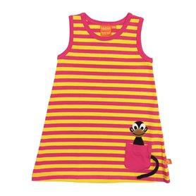 cerise/gul klänning med apa