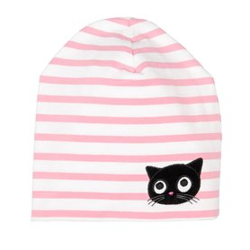 pink/hite cap with a kitten