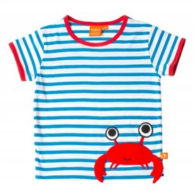 blue/white T-shirt with a crab