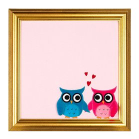Pink picture with Owls
